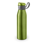 flip lid metal flask bottle with silicone strap - green