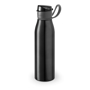 flip lid metal flask bottle with silicone strap - black