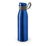 flip lid metal flask bottle with silicone strap - blue
