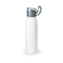 flip lid metal flask bottle with silicone strap - white