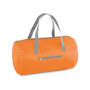 Foldable gym bag in orange with grey straps and details