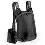 black foldable ledor backpack with a small black pouch
