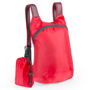 red foldable ledor backpack with a small red pouch
