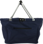 Navy large shopping basket with folding metal handles and large print area for branding
