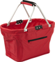 Red shopping basket with black trim details and zip compartment to the front