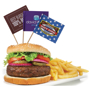 3 food pick flags with full colour designs in burger