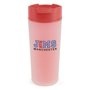 red frosty tumbler mug with a corporate logo to the front