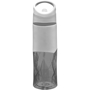 Translucent grey geometric drinks bottle, 830ml capacity with built in straw, solid carry loop and smooth printing panel