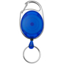 a blue gerlos clip key chain with metal clip to one side and pull our keyring to the other