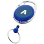 blue gerlos roller clip key chain with pull out keyring and a 1 colour branding to the front centre