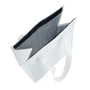 Tote style white cooler bag with velcro opening