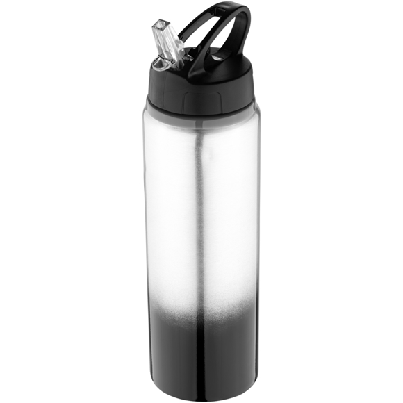 Metal sports bottle with black gradient feature to the bottom and matching lid.