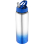 Metal sports bottle with blue gradient feature to the bottom and matching lid.