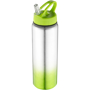 Metal sports bottle with green gradient feature to the bottom and matching lid.