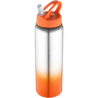Metal sports bottle with orange gradient feature to the bottom and matching lid.