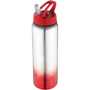 Metal sports bottle with red gradient feature to the bottom and matching lid.