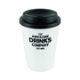 White reusable coffee cup tumbler with black lid printed with company logo