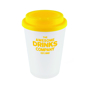 Reusable coffee cup in white, with branding area for a company logo
