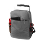 "Heathered 15"" Laptop Backpack in grey showing compartments"