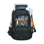 "Ibira 15.6"" Laptop And Tablet Backpack in black and orange showing all compartments"