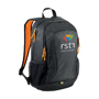 "Ibira 15.6"" Laptop And Tablet Backpack in black and orange with 5 colour logo"