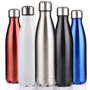 a selection of metal bottles in different colours with silver lids