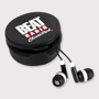 Black earphones in matching coloured storage pot with a 1 colour logo on the front