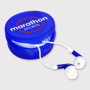 Blue and white promotional ear buds in a small round pot