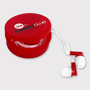Promotional earphones in red and white with storage case