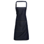 Jean Bib Apron in navy with contrasting stitching, 4 pocket compartments and adjustable buckle on neckband