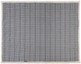 Joan sherpa plaid blanket in grey laid out