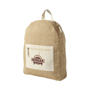 Jute backpack branded with a company logo printed on the front