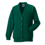 Kids Cardigan in green with set in sleeves and 5 buttons