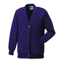 Kids Cardigan in purple with set in sleeves and 5 buttons