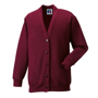 Kids Cardigan in burgundy with set in sleeves and 5 buttons