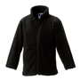 Kids Full Zip Fleece in black with cadet collar, side pockets with reversed zips and cord pulls on all zips