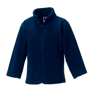Kids Full Zip Fleece in navy with cadet collar, side pockets with reversed zips and cord pulls on all zips