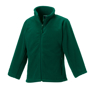 Kids Full Zip Fleece in green with cadet collar, side pockets with reversed zips and cord pulls on all zips