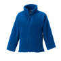 Kids Full Zip Fleece in blue with cadet collar, side pockets with reversed zips and cord pulls on all zips