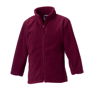 Kids Full Zip Fleece in burgundy with cadet collar, side pockets with reversed zips and cord pulls on all zips