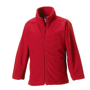 Kids Full Zip Fleece in red with cadet collar, side pockets with reversed zips and cord pulls on all zips