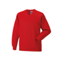 Kids V Neck Sweatshirt in red with set in sleeves and side seams