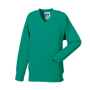 Kids V Neck Sweatshirt in light green with set in sleeves and side seams