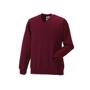 Kids V Neck Sweatshirt in burgundy with set in sleeves and side seams