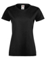 Lady-fit Softspun T in black with crew neck
