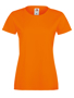 Lady-fit Softspun T in orange with crew neck