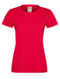 Lady-fit Softspun T in red with crew neck