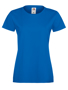 Lady-fit Softspun T in blue with crew neck
