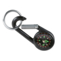 small black lebone compass on a carabiner hook with keyring from a angled view