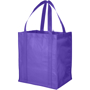Purple shopper tote with large side gussets and carry handles